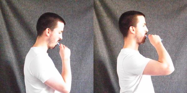 shoulders use brushing teeth